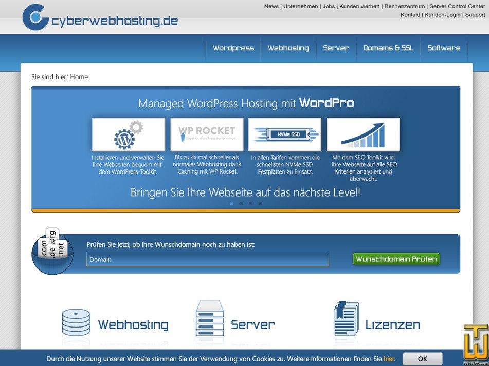 cyberwebhosting.de Screenshot
