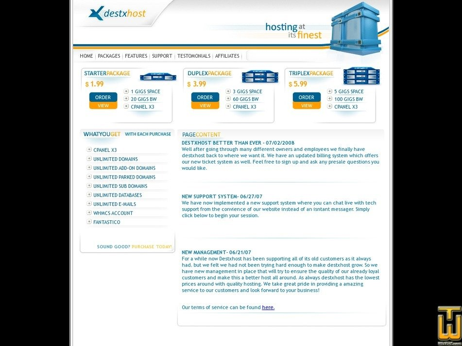 destxhost.com Screenshot