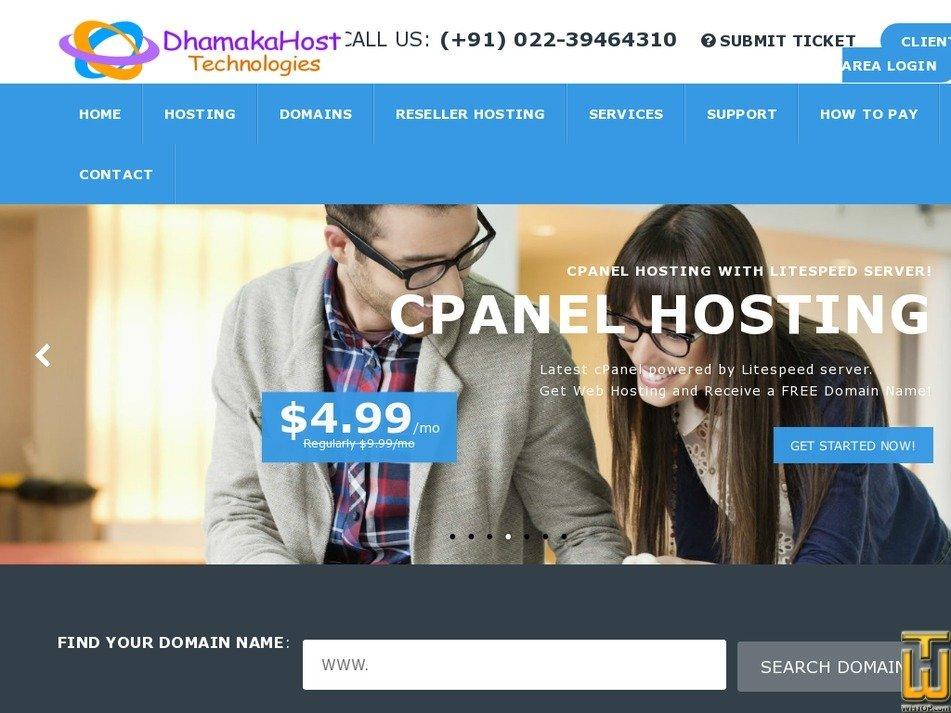 dhamakahost.in Screenshot