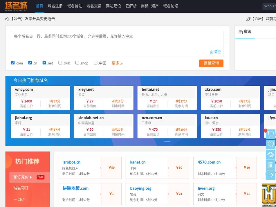 domain.cn screenshot