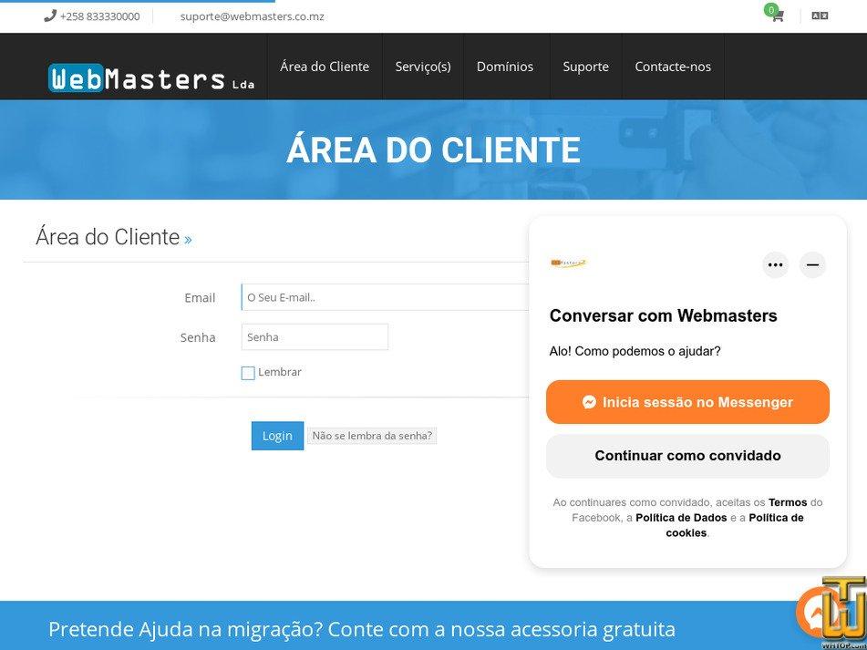 domains.co.mz Screenshot