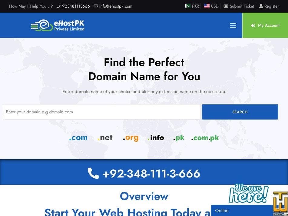 ehostpk.com Screenshot