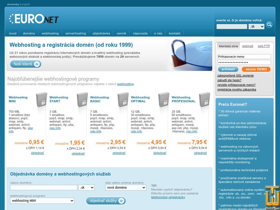 euronet.sk Screenshot