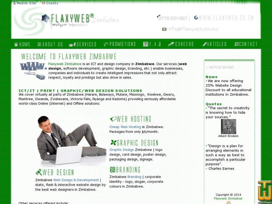 flaxyweb.co.zw Screenshot