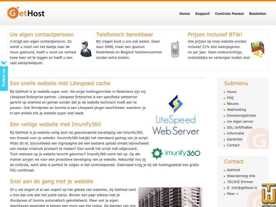 gethost.nl Screenshot