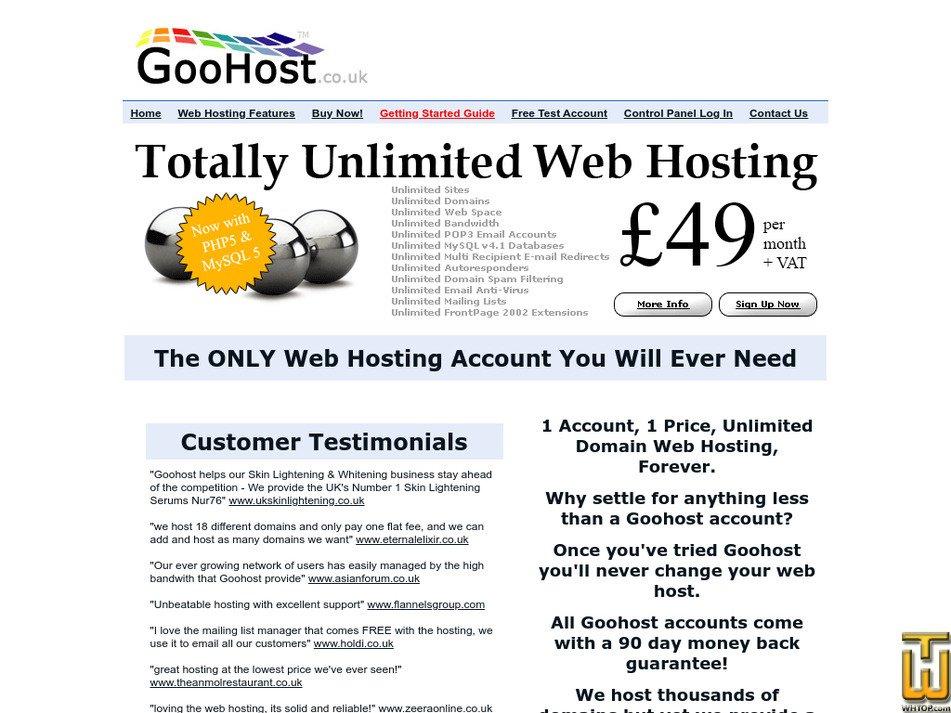 goohost.co.uk Screenshot