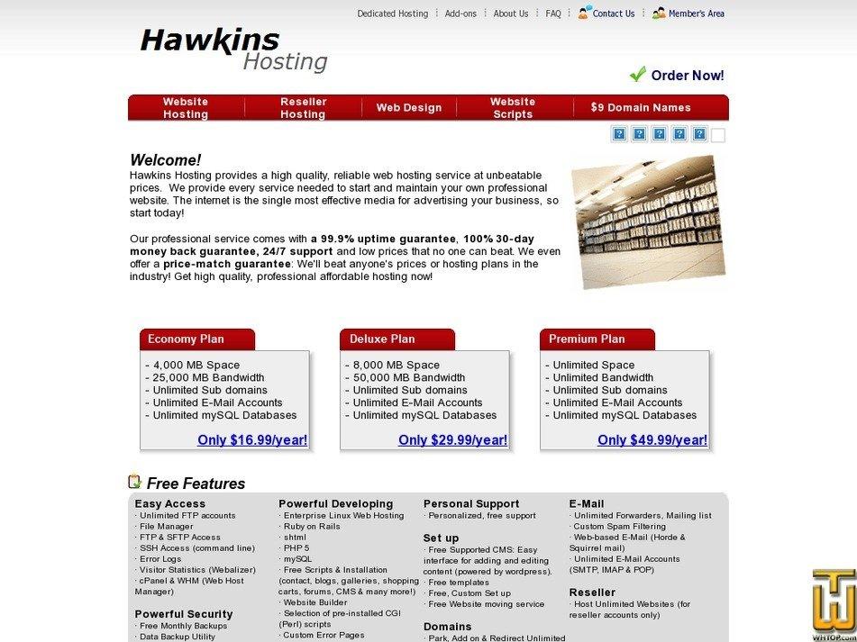hawkinshosting.com Screenshot