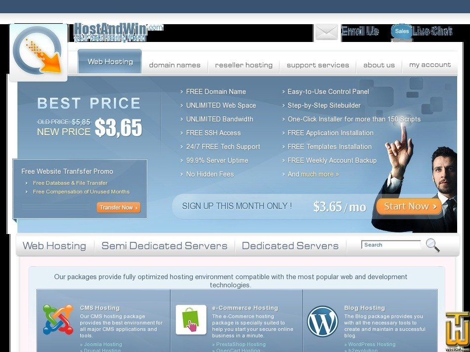 hostandwin.com Screenshot