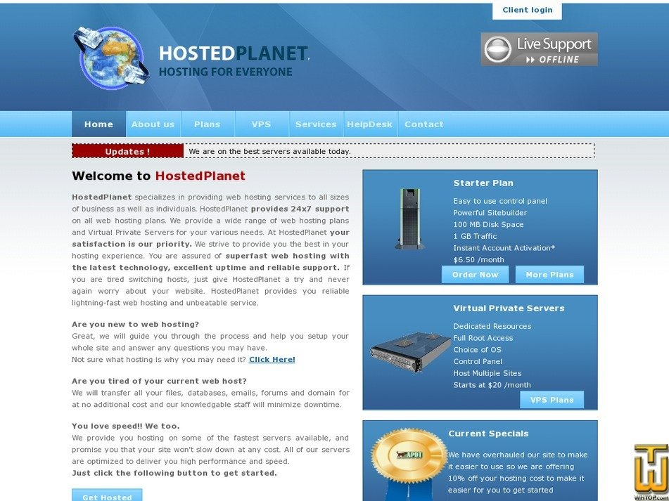hostedplanet.com Screenshot