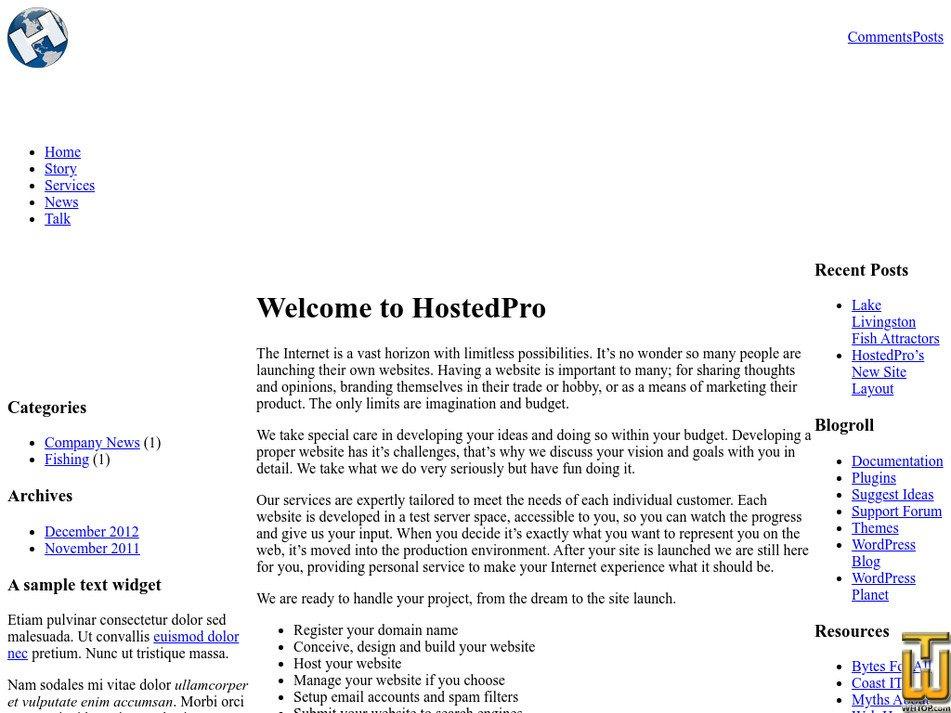 hostedpro.com Screenshot
