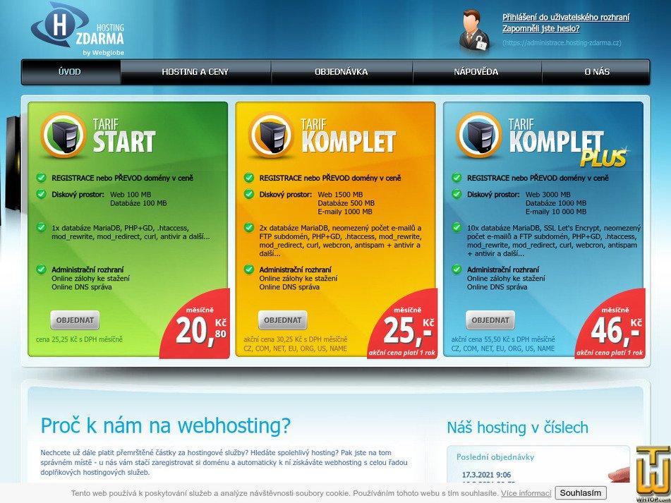 hosting-zdarma.cz Screenshot