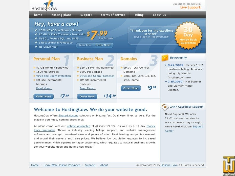 hostingcow.com Screenshot