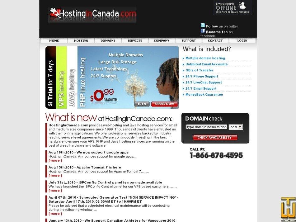 hostingincanada.com Screenshot
