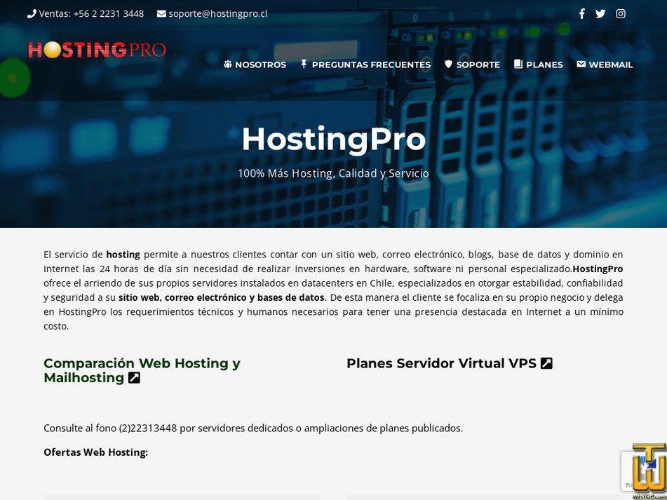 hostingpro.cl Screenshot