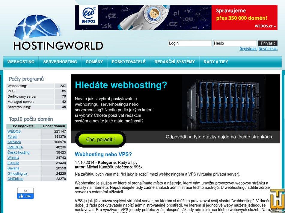 hostingworld.cz Screenshot