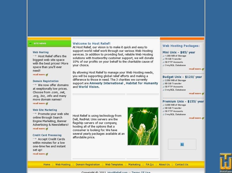 hostrelief.com Screenshot