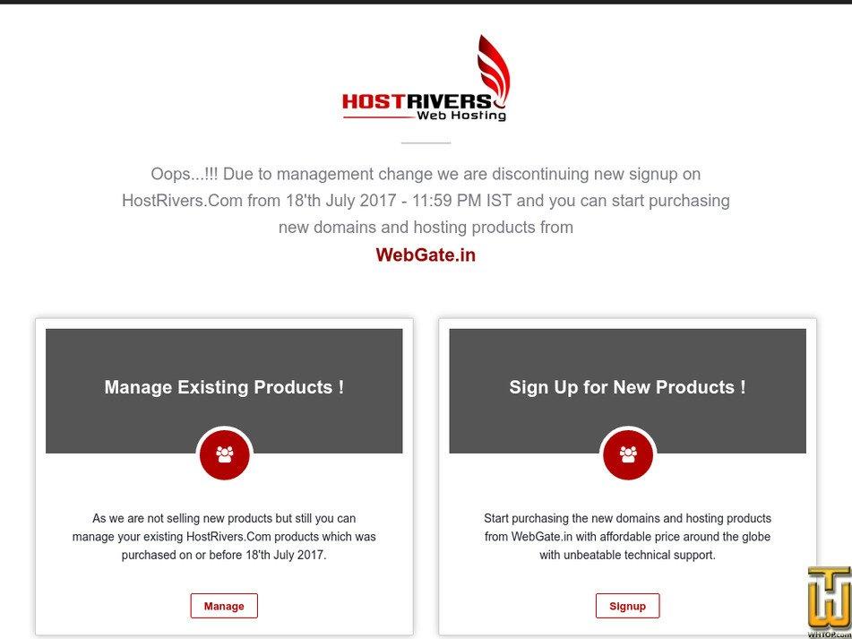 hostrivers.com Screenshot