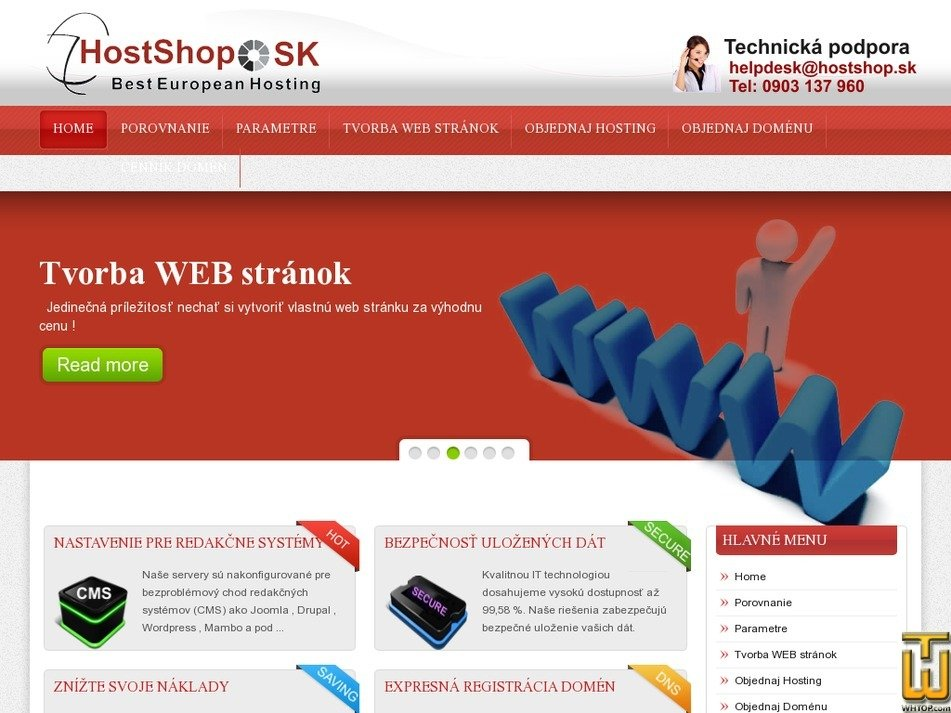 hostshop.sk Screenshot