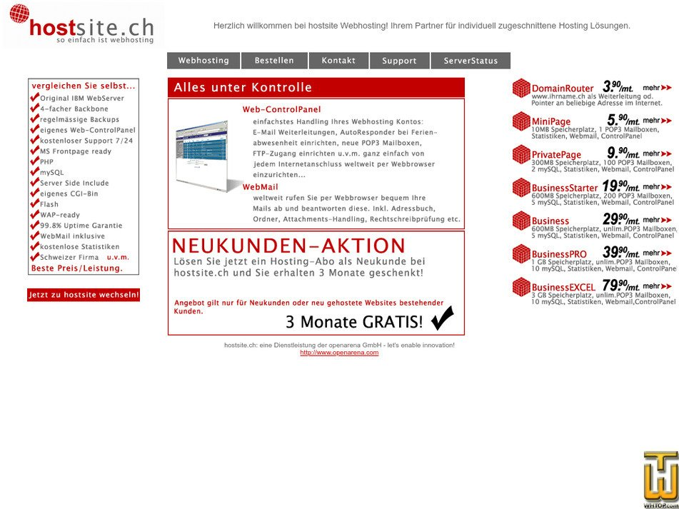 hostsite.ch Screenshot