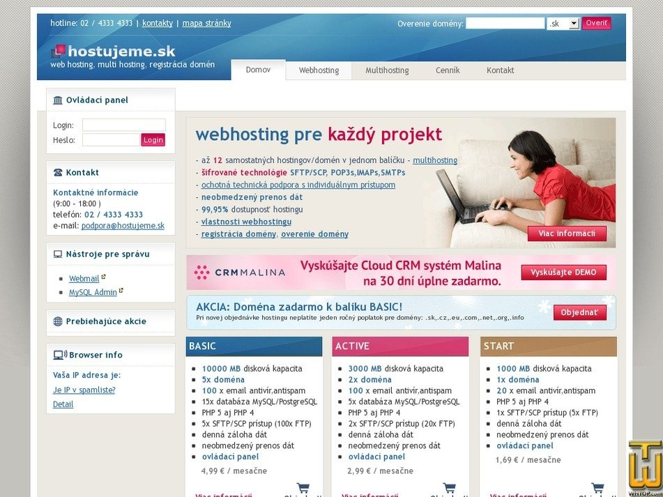 hostujeme.sk Screenshot