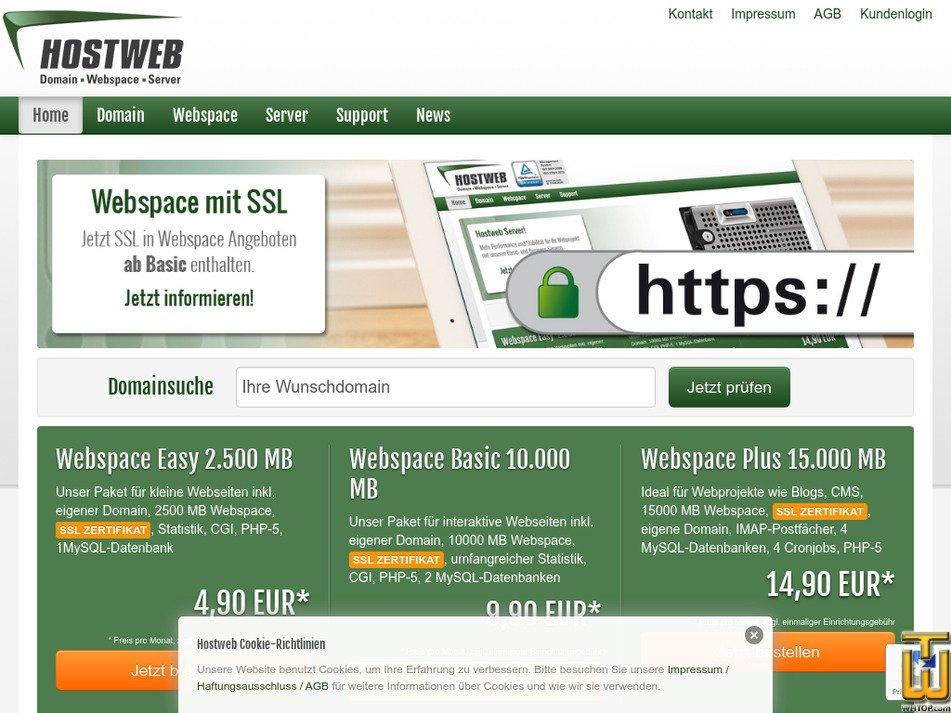 hostweb.de Screenshot