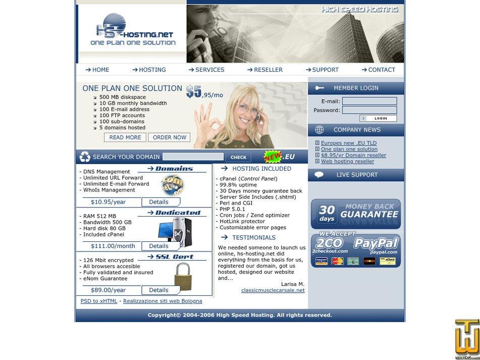 hs-hosting.net Screenshot