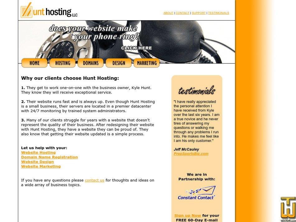 hunthosting.com Screenshot