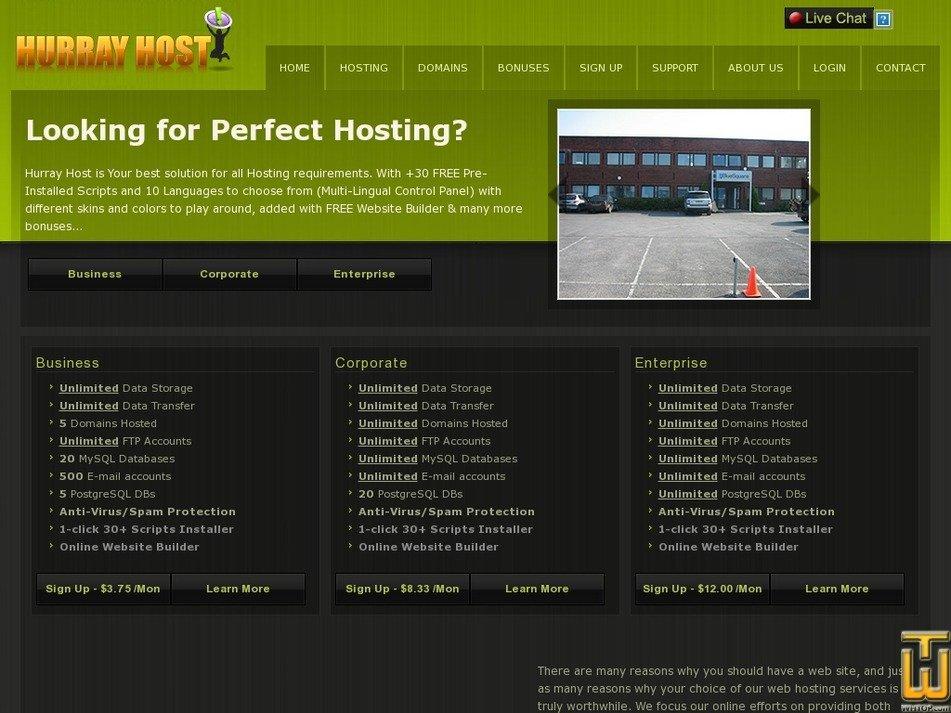 hurrayhost.com Screenshot