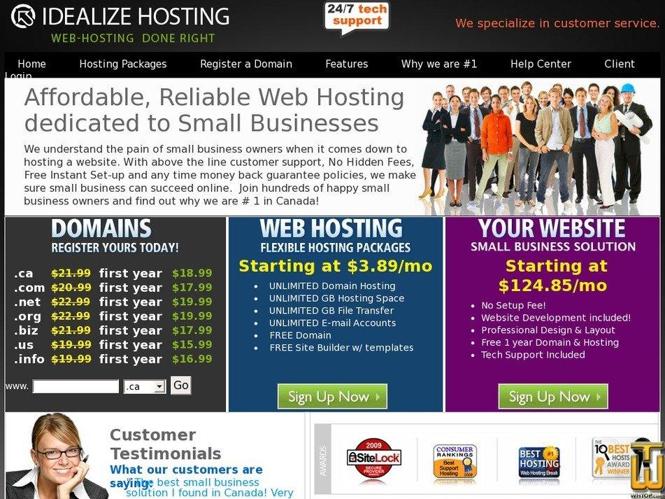 idealizehosting.com Screenshot