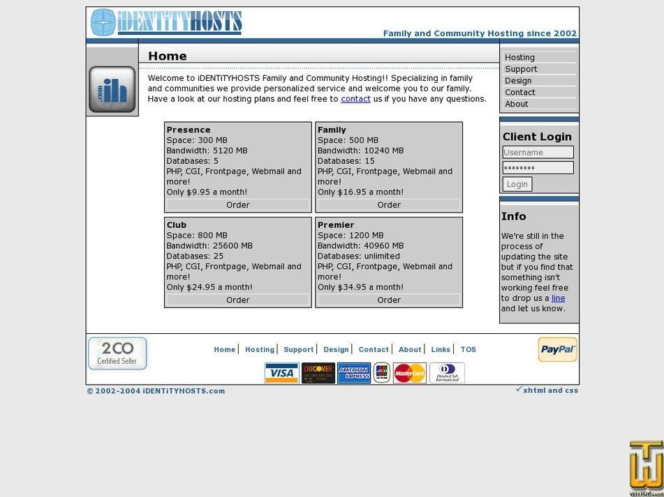 identityhosts.com Screenshot