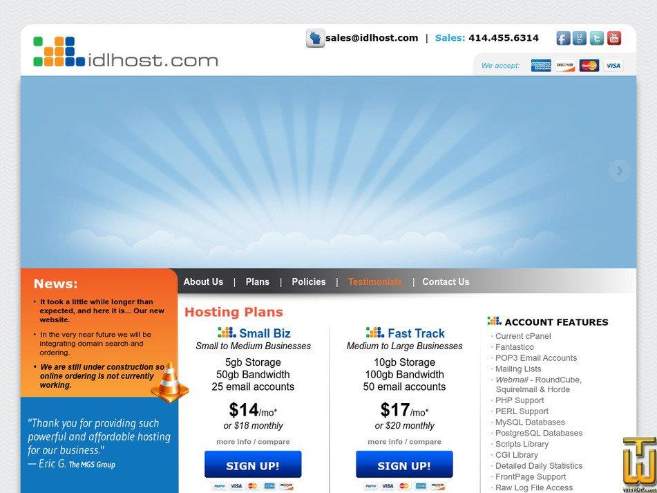 idlhost.com Screenshot