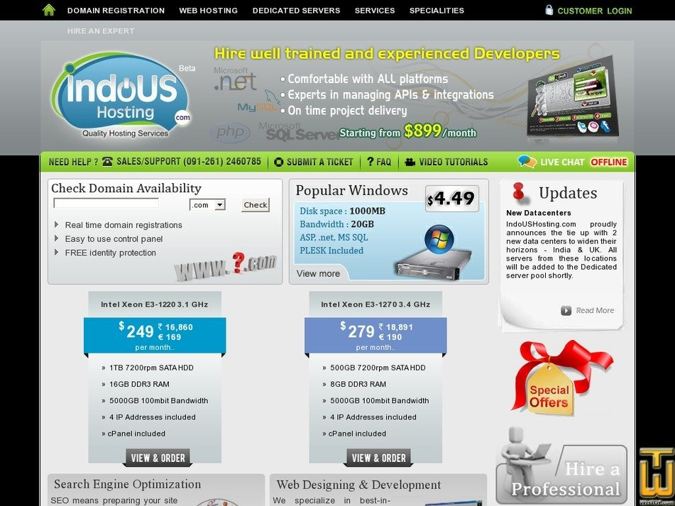indoushosting.com Screenshot