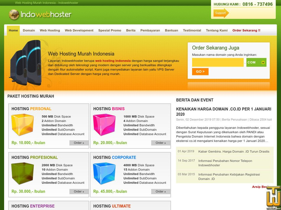 indowebhoster.com Screenshot