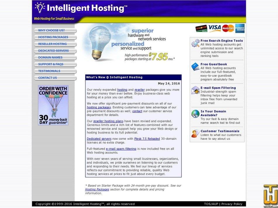 intelligenthosting.com Screenshot