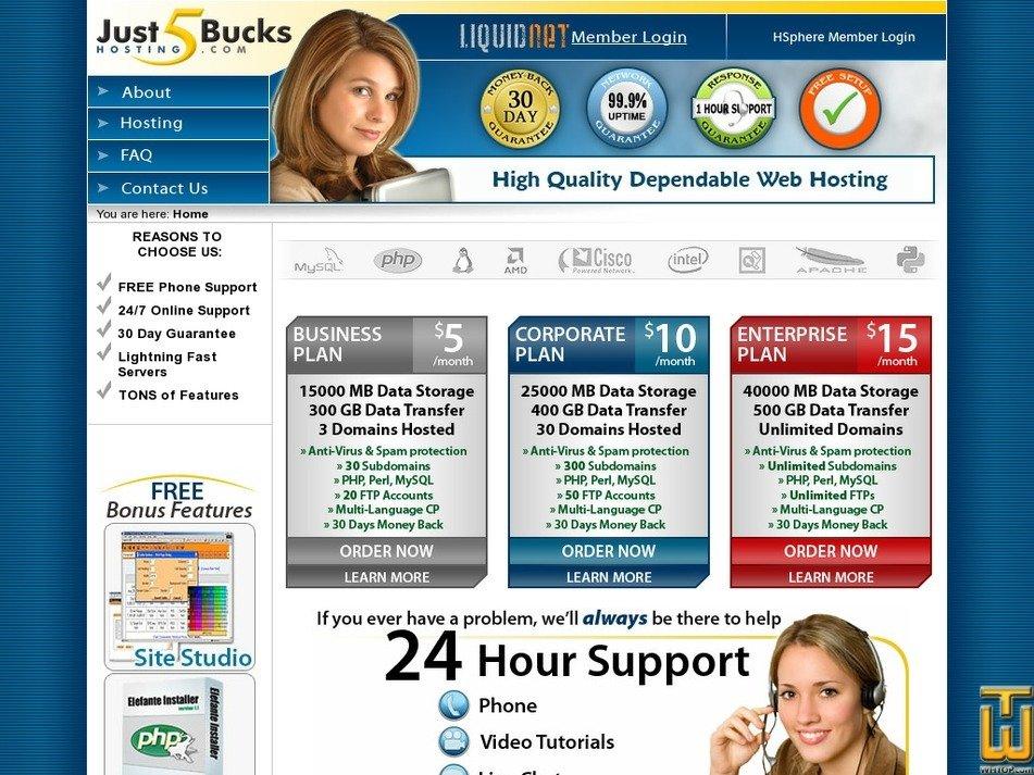 just5buckshosting.com Screenshot