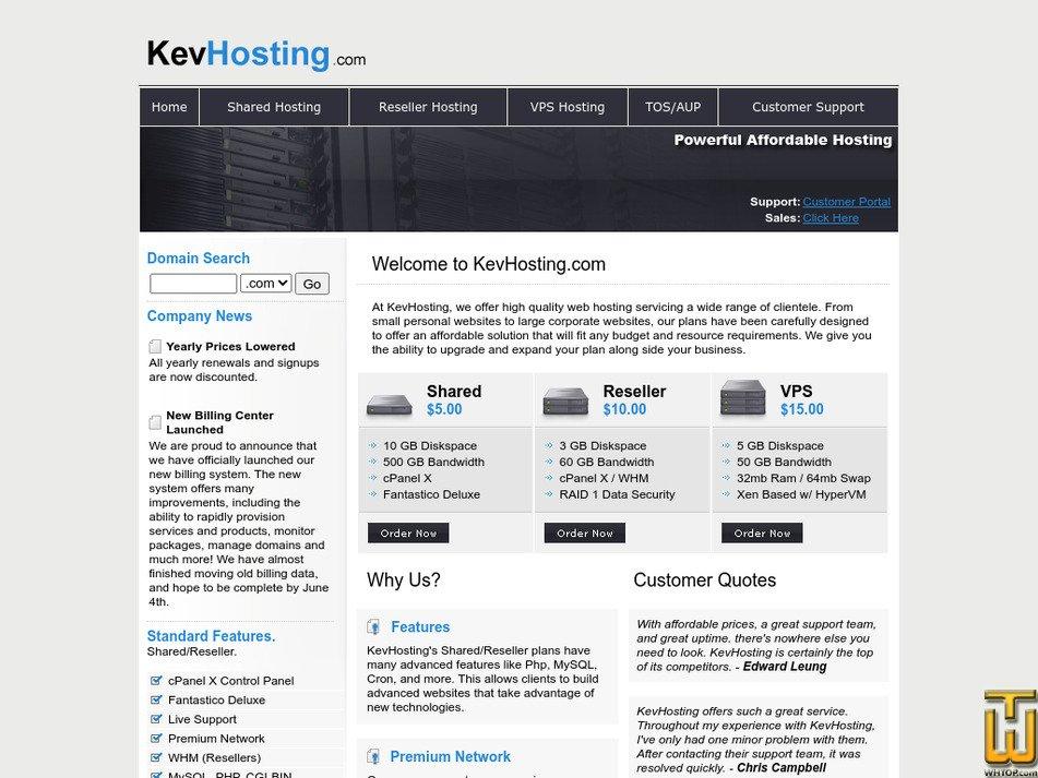 kevhosting.com Screenshot