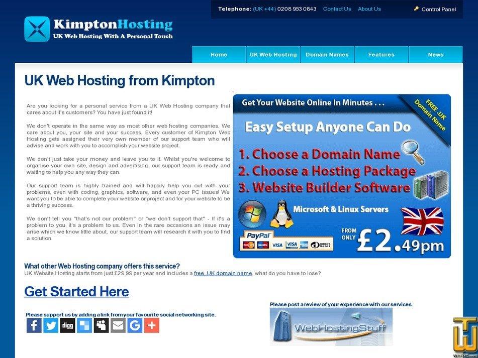 kimptonwebhosting.com Screenshot