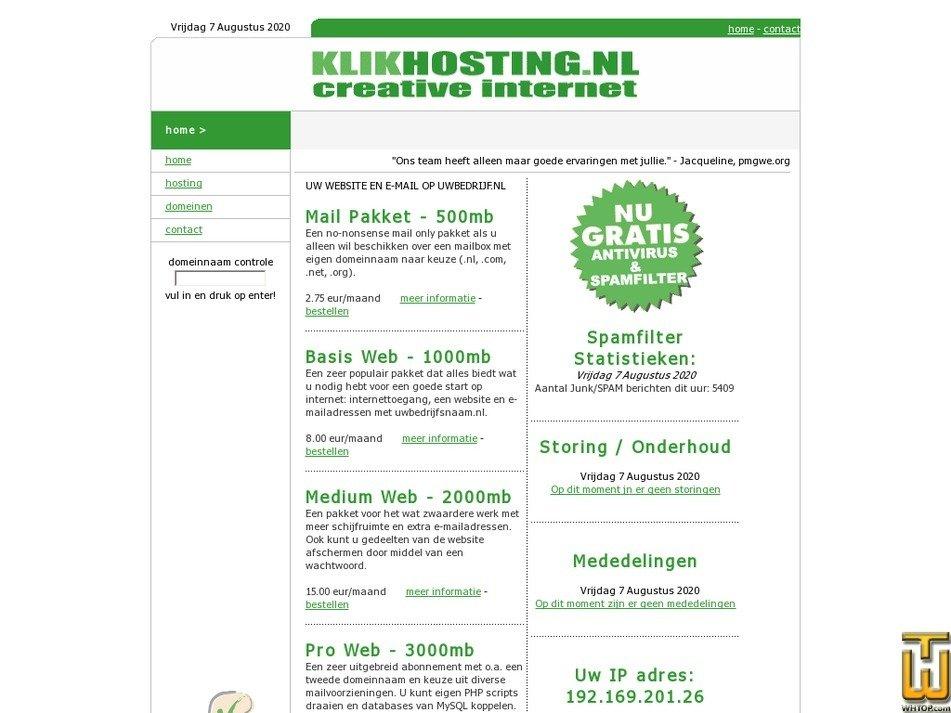 klikhosting.nl Screenshot