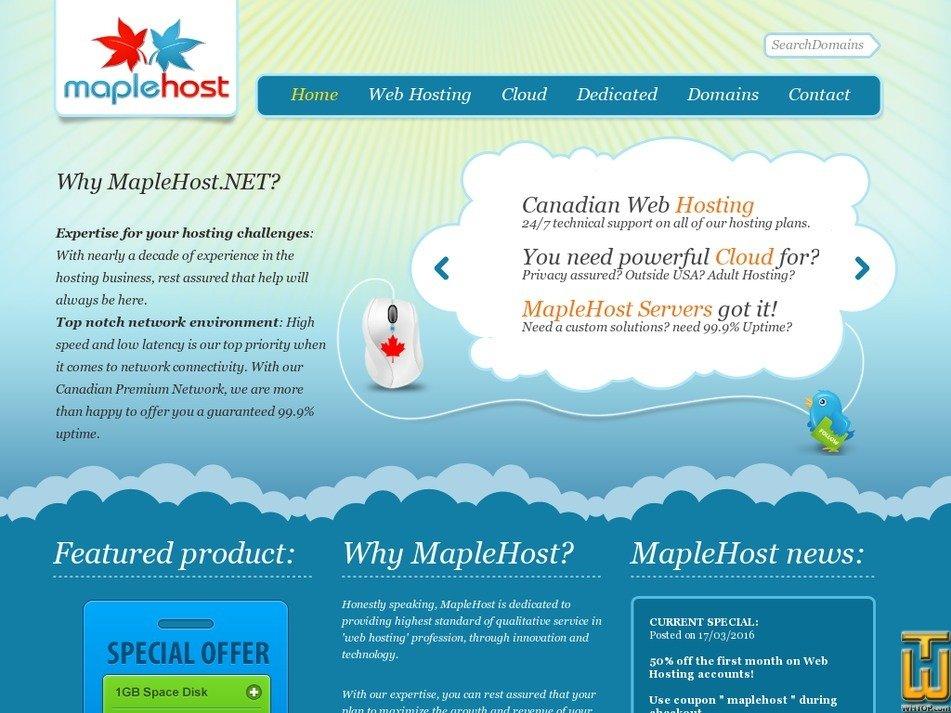 maplehost.net Screenshot