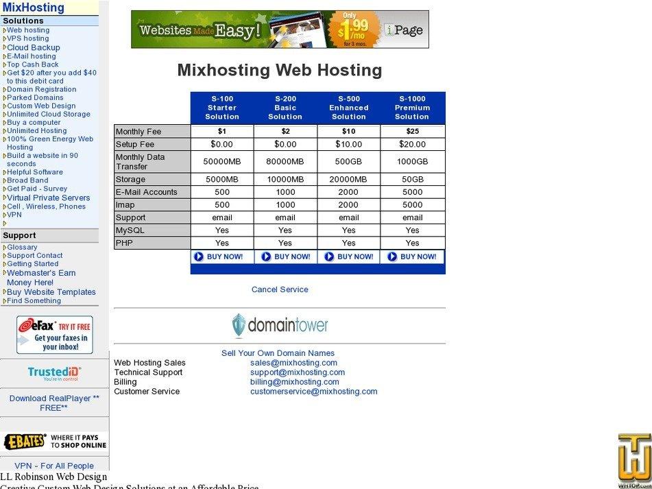 mixhosting.net Screenshot