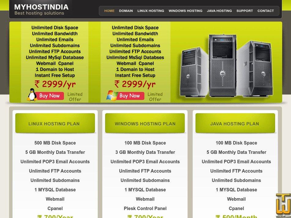 myhostindia.com Screenshot