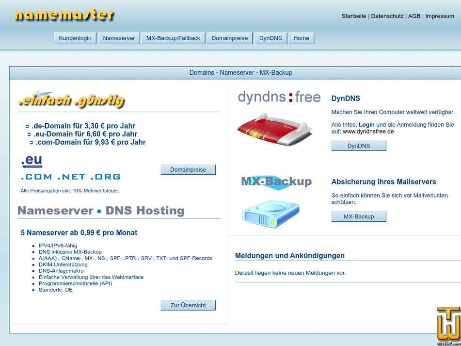 namemaster.de screenshot