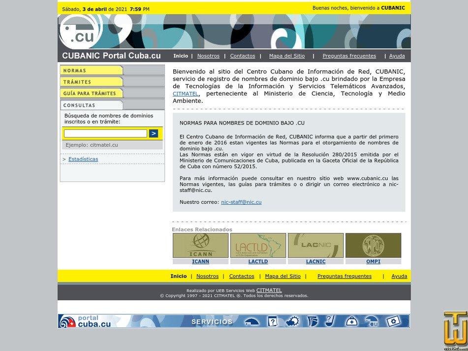 nic.cu Screenshot