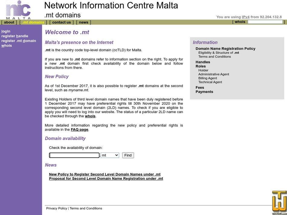 nic.org.mt Screenshot