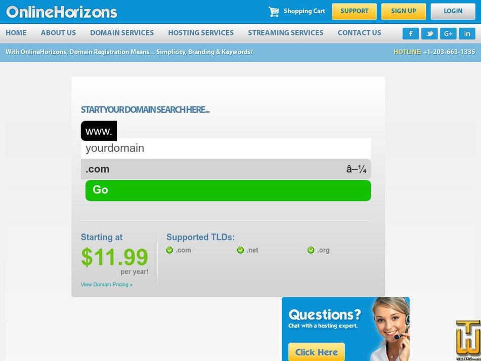 onlinehorizons.net Screenshot