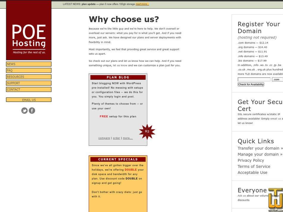 poehosting.com Screenshot