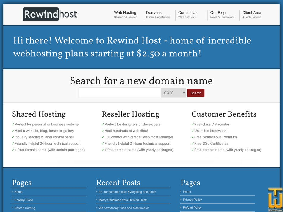 rewindhost.com Screenshot