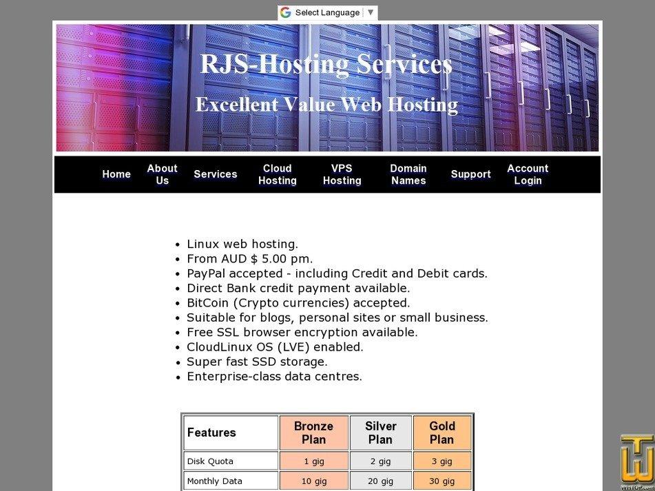 rjs-hosting.com Screenshot
