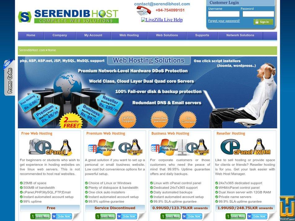 serendibhost.com Screenshot