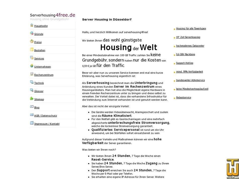 serverhousing4free.de Screenshot